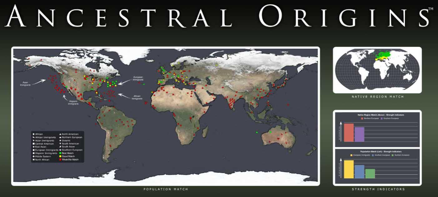 Ancestral Origins™ DNR kilmės žemėlapį
